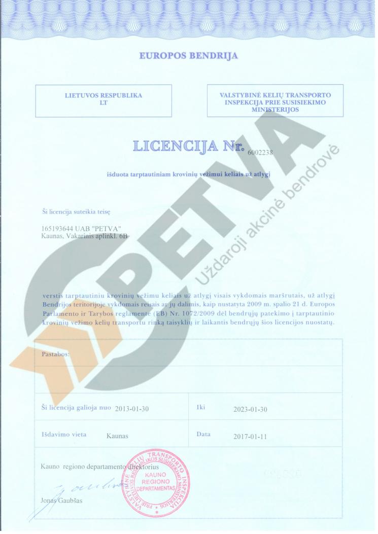 Petva veiklos licencija